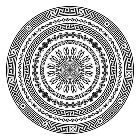 Forma ornamental redonda del vector aislada en blanco.