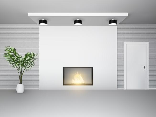 Fireplace interior with palm vector