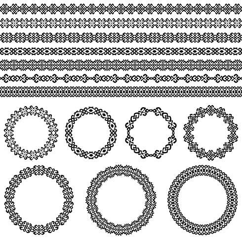 Set di bordo astratto etnico. Cornici e bordi rotondi. Modelli di elementi decorativi nei colori bianco e nero. Illustrazione vettoriale