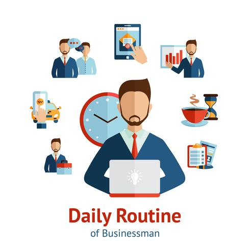 Manifesto di concetto di routine quotidiana uomo d'affari vettore