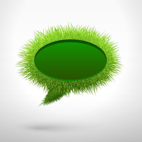 Bolla parlante in bianco dell'erba verde