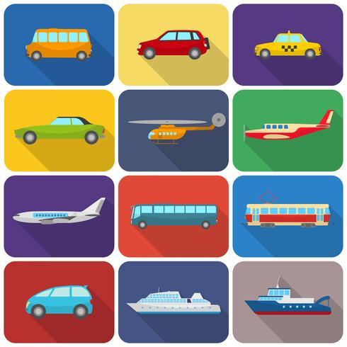 Icônes de transport multicolores à plat