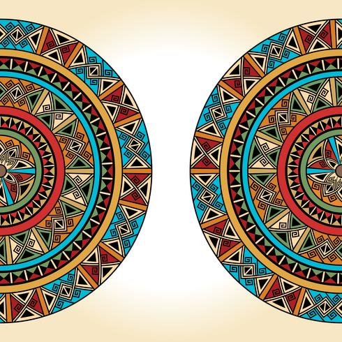 Ethnic traditional colorful bright half round pattern on beige background vector