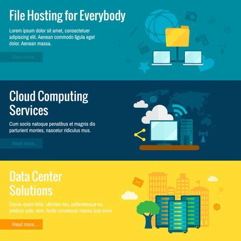 Set di banner piatto di hosting di file