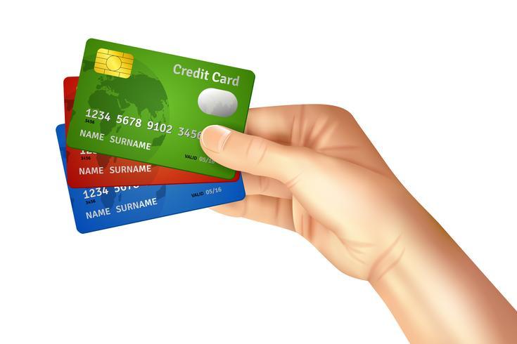 Mano sosteniendo tarjetas de credito vector