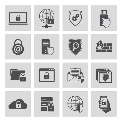 Information technology security icons set vector