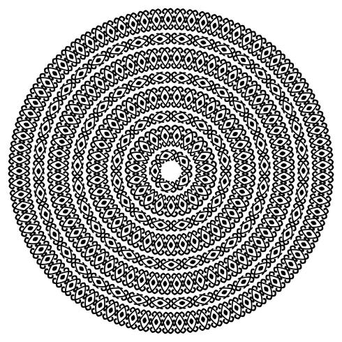 Texturas inconsútiles étnicas monocromáticas. Forma ornamental redonda del vector aislada en blanco. Fondo de patrón de arabesco oriental. Ilustración vectorial