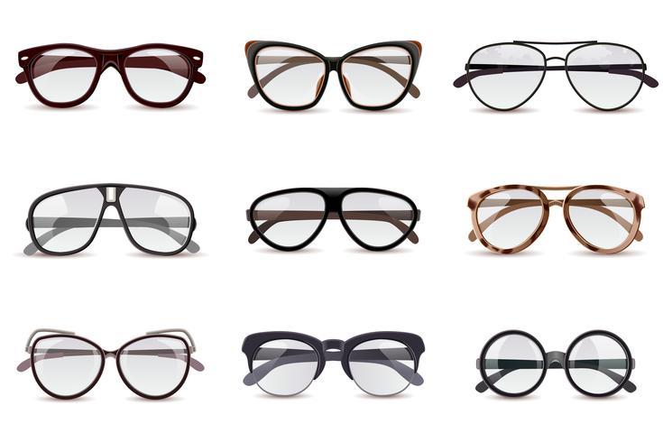 Set di occhiali realistici vettore