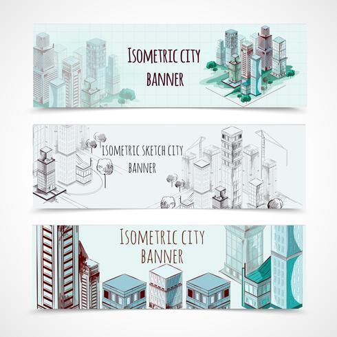 Isometrische Banners bouwen vector