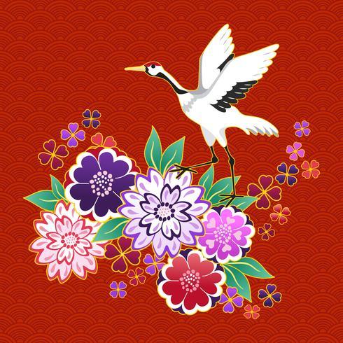 Motivo decorativo kimono con fiori e gru