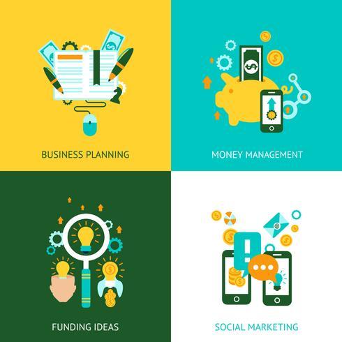 Concepto de análisis de negocio 4 iconos planos