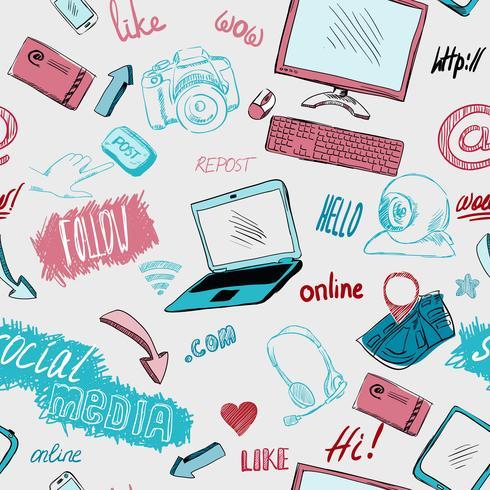 Fondo de redes sociales doodle inconsútil