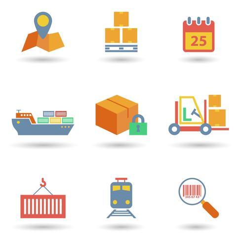 Icone logistiche piatte