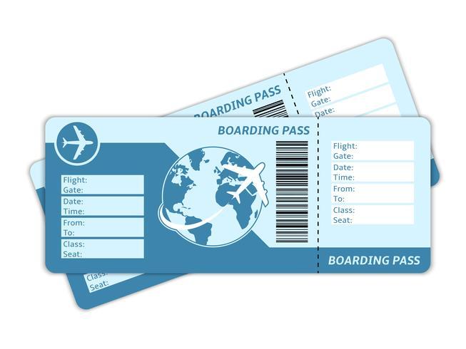 Billetes de avión en blanco vector
