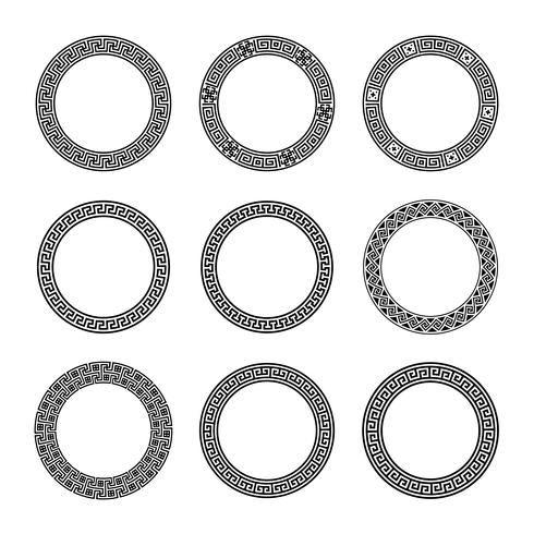 Ethnic set collection. Antique borders in black color on the white background. Greek round frames