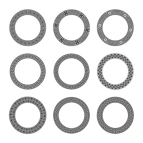Ethnische Set-Sammlung. Antike Grenzen in der schwarzen Farbe auf dem weißen Hintergrund. Griechische runde Rahmen vektor