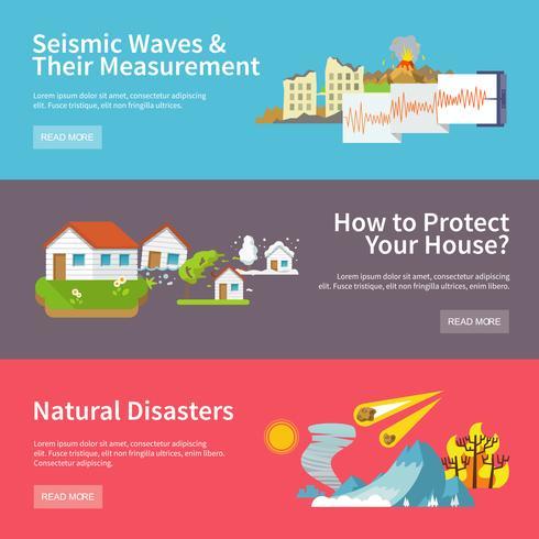 Banners de desastres naturais vetor