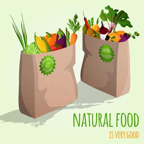 Concepto de verduras en bolsas vector