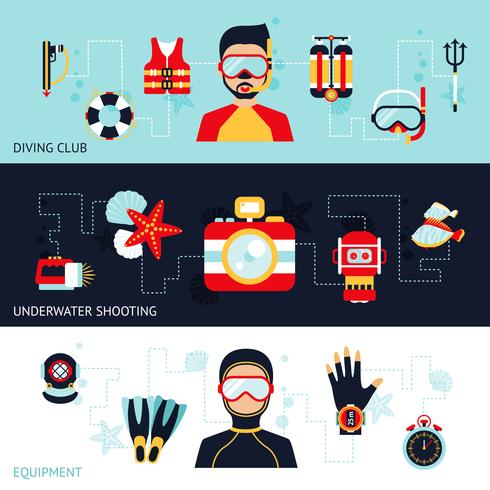 Diving Banner Set vector
