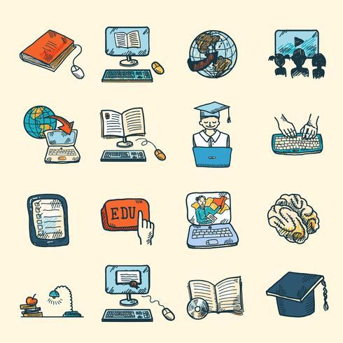 Bosquejo de los iconos de educación en línea vector