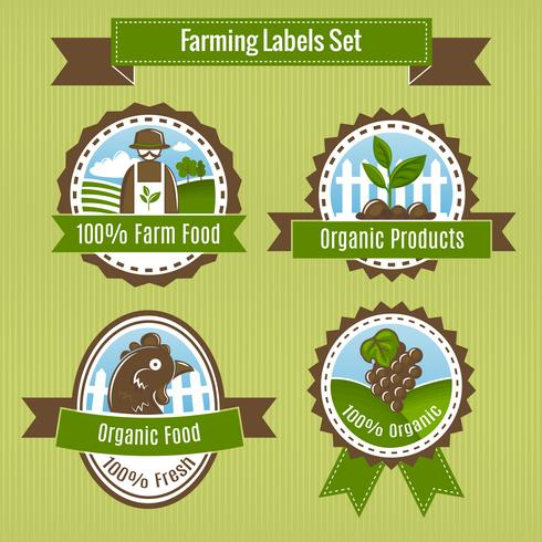 Farming harvesting and agriculture badge o set di etichette
