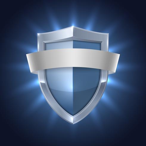 Escudo brilhante com crachá de segurança de fita em branco
