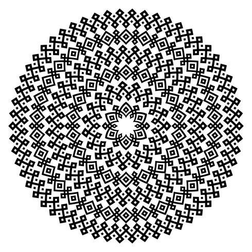 Monochromatische etnische naadloze texturen. Ronde sier vectorvorm geïsoleerd op wit