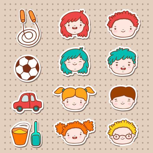 Doodle niños caras iconos vector