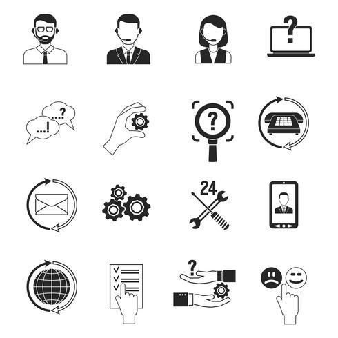 Stöd ikoner svart uppsättning