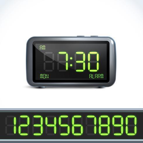 Numéros de réveil numérique vecteur