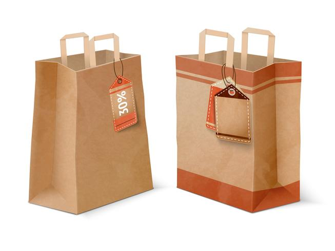 Compras de bolsas de papel y plantillas de etiquetas de venta.