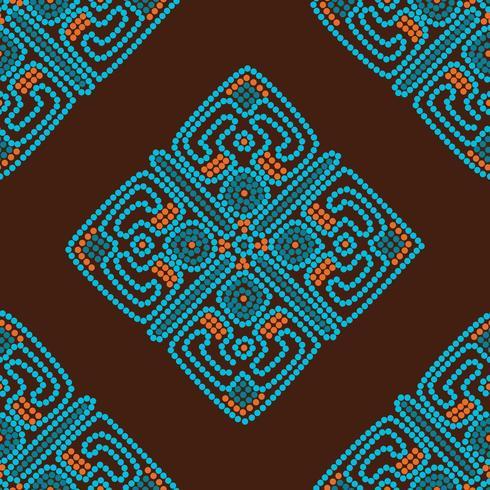 etnisk sömlös mönster bakgrund i bruna och blå färger