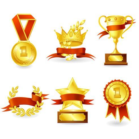 Trofeo y emblema del premio. vector