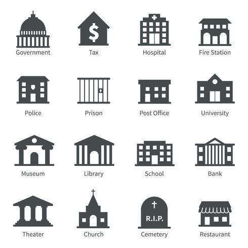 Ícones de edifícios do governo vetor