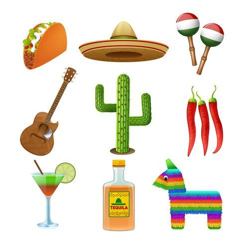 Iconos mexicanos establecidos planos vector