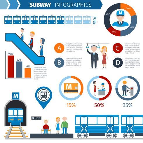 Conjunto de infográficos de metrô vetor