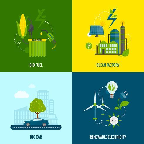 Composição de ícones plana de energia eco