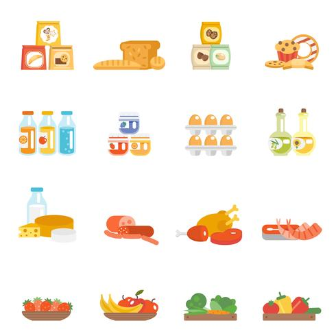 Set de comida de supermercado vector