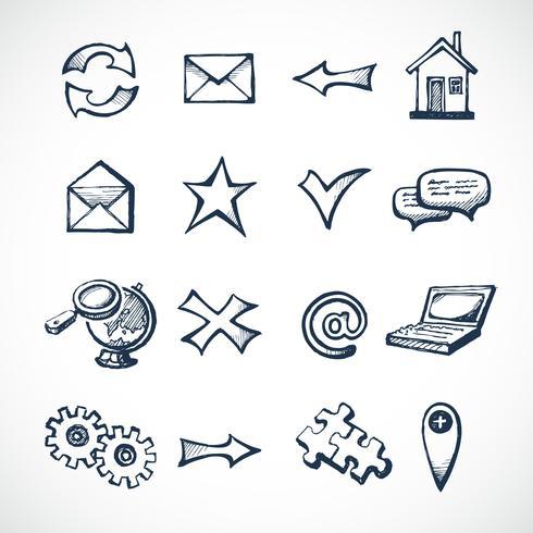 Iconos de esbozo de internet vector