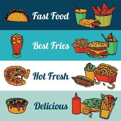 Fast food restaurant menu banners set