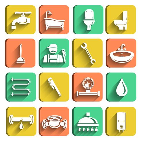 Conjunto de iconos de herramientas de plomería vector
