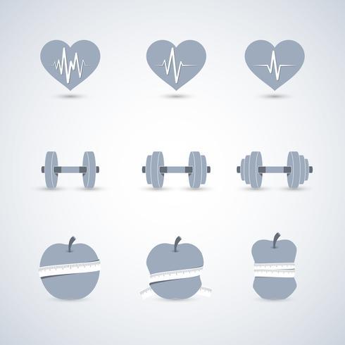 Fitness oefeningen vooruitgang pictogrammen instellen vector