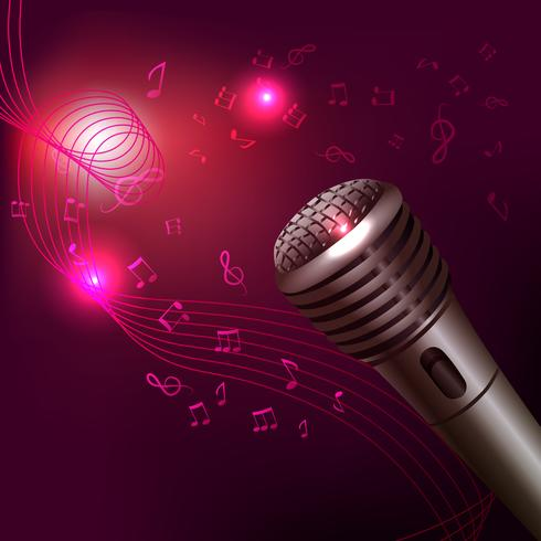 Fundo de música com microfone vetor