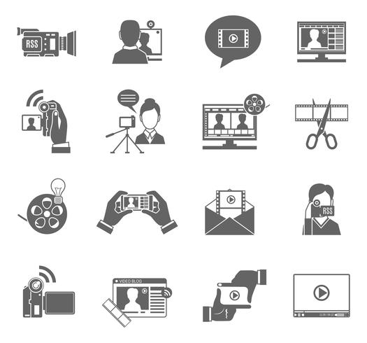 Inställningar för video bloggikoner vektor
