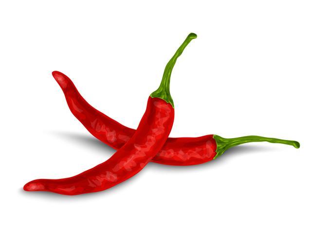 Chili peppar isolerad på vitt