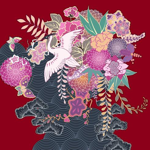 Adorno floral kimono vintage vector