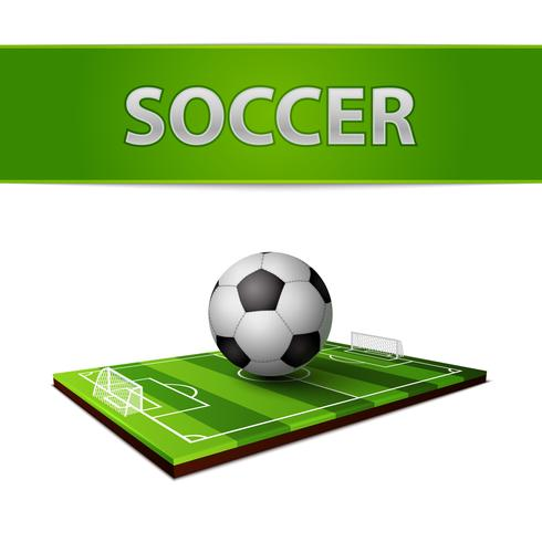 Soccer ball and grass field emblem