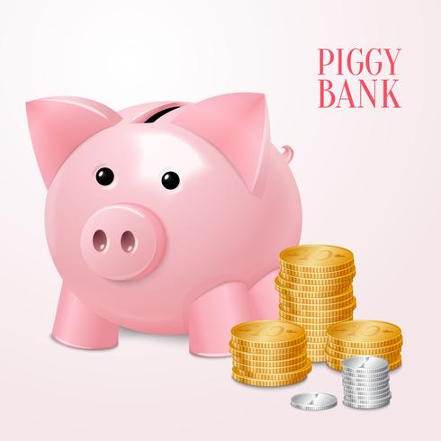 Piggy bank with coins print