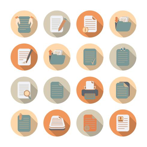 Set di icone di file e cartelle di documenti vettore