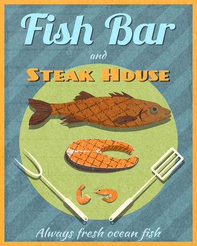 Fish bar retro poster